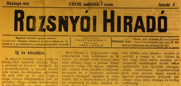Rozsnyói Hiradó 1914. január 4.