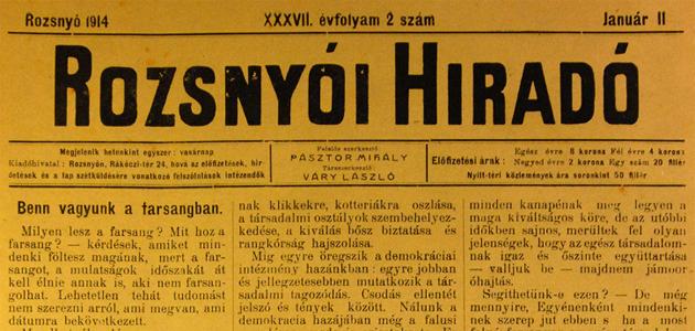 Rozsnyói Hiradó 1914. január 11.