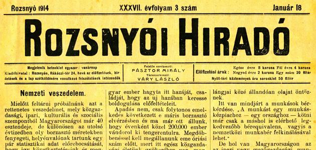 Rozsnyói Hiradó 1914. január 18.