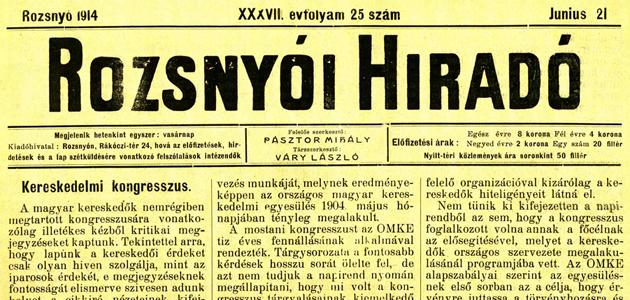 Rozsnyói Hiradó 1914. június 21.