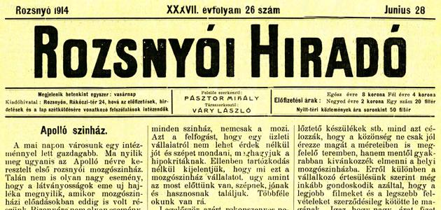 Rozsnyói Hiradó 1914. június 28.