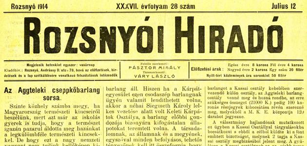 Rozsnyói Hiradó 1914. július 12.