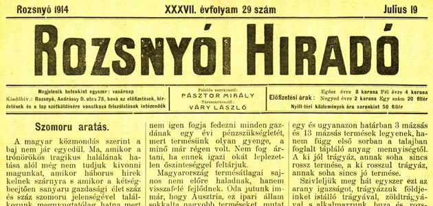 Rozsnyói Hiradó 1914. július 19.