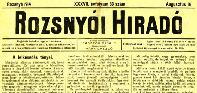 Rozsnyói Hiradó 1914. augusztus 16.