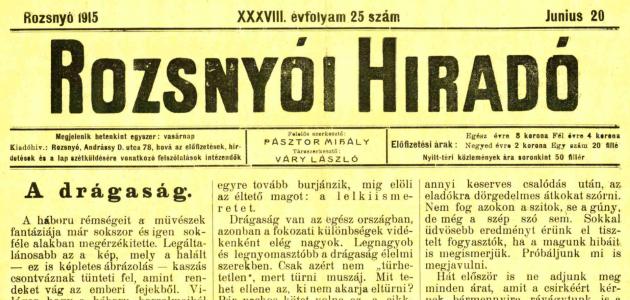 Rozsnyói Hiradó 1915. június 20.