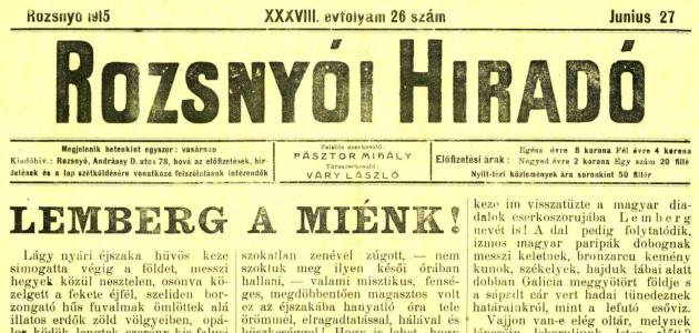 Rozsnyói Hiradó 1915. június 27.