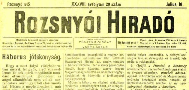 Rozsnyói Hiradó 1915. július 18.