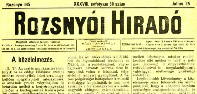 Rozsnyói Hiradó 1915. július 25.