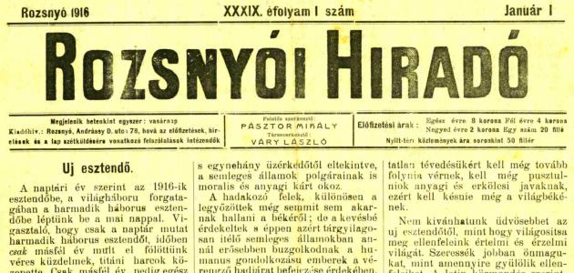 Rozsnyói Hiradó 1916. január 1.