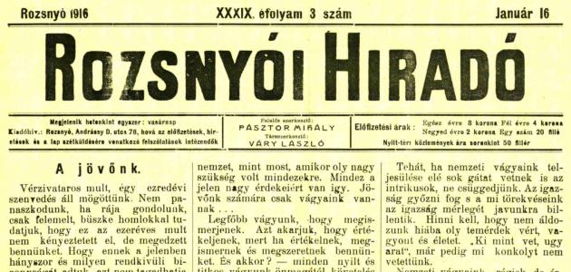 Rozsnyói Hiradó 1916. január 16.