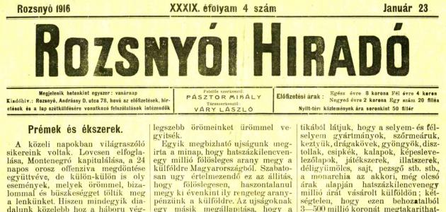 Rozsnyói Hiradó 1916. január 23.