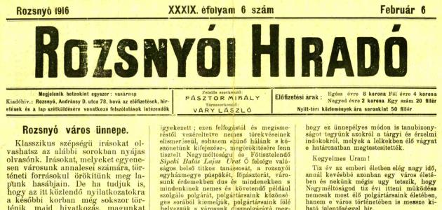 Rozsnyói Hiradó 1916. február 6.