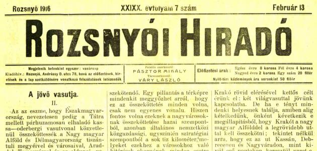 Rozsnyói Hiradó 1916. február 13.