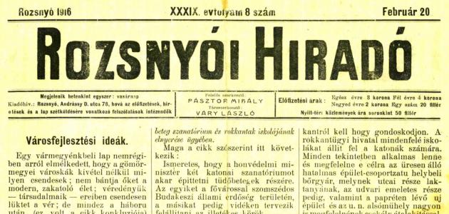 Rozsnyói Hiradó 1916. február 20.