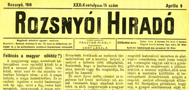 Rozsnyói Hiradó 1916. április 9.