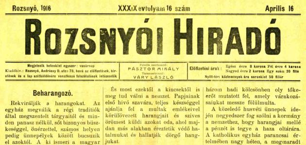 Rozsnyói Hiradó 1916. április 16.