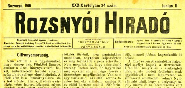 Rozsnyói Hiradó 1916. június 11.