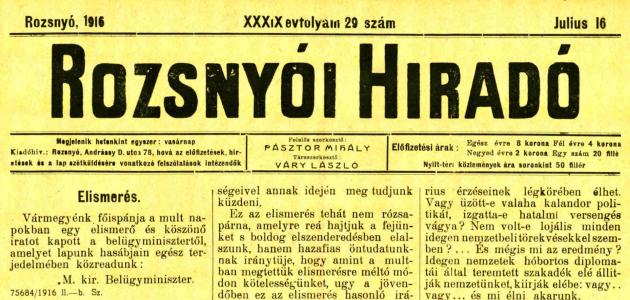 Rozsnyói Hiradó 1916. július 16.