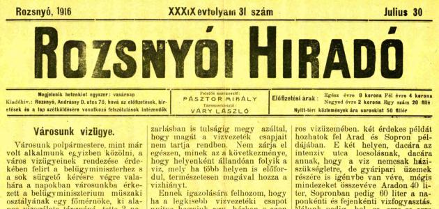 Rozsnyói Hiradó 1916. július 30.